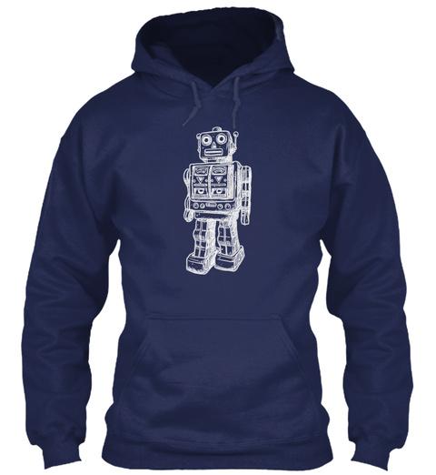 Hoodie Huge Robot Navy Sweatshirt Front