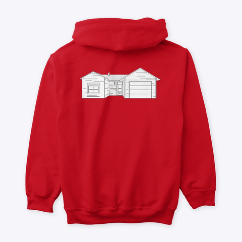 Classic Burbs Hoodie   All Colors Red T-Shirt Back