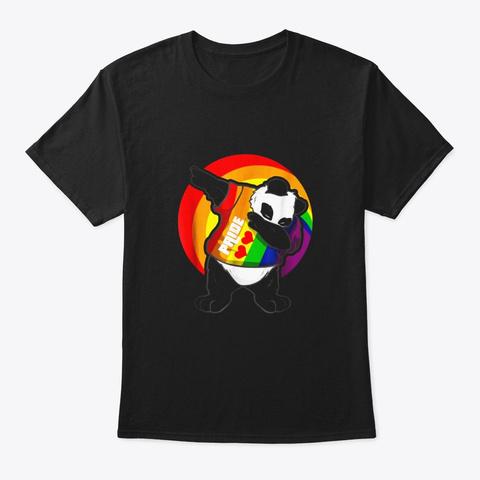 Panda Dab Shirt Pride Rainbow Dabbing Black T-Shirt Front