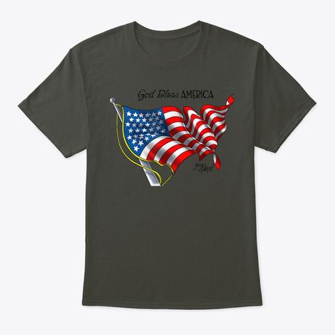 God Bless America Art By Gary Varvel  Smoke Gray T-Shirt Front