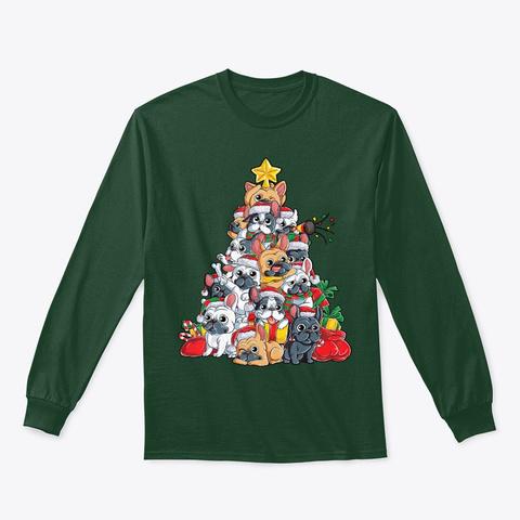 French Bulldog Christmas Tree Dog Santa Forest Green T-Shirt Front