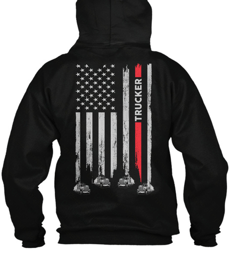 Trucker Zipper Hoodie Christmas Spl Black T-Shirt Back