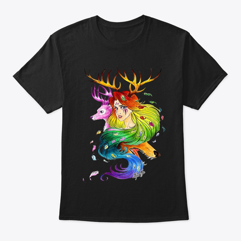 Goddess Of Nature By Mei Yu Black T-Shirt Front
