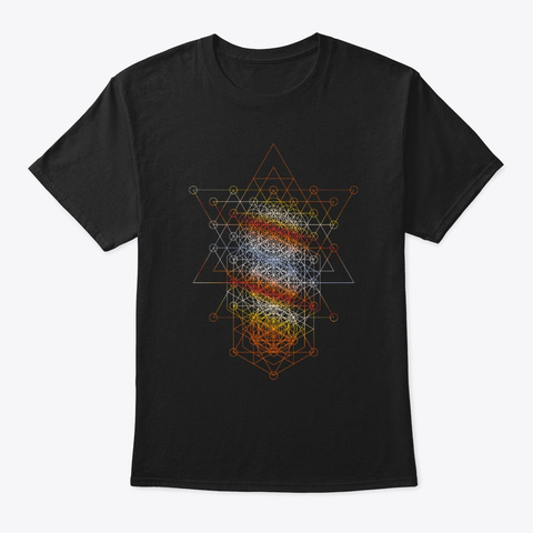 Sacred Geometry Seed, Flower. Tree Black T-Shirt Front