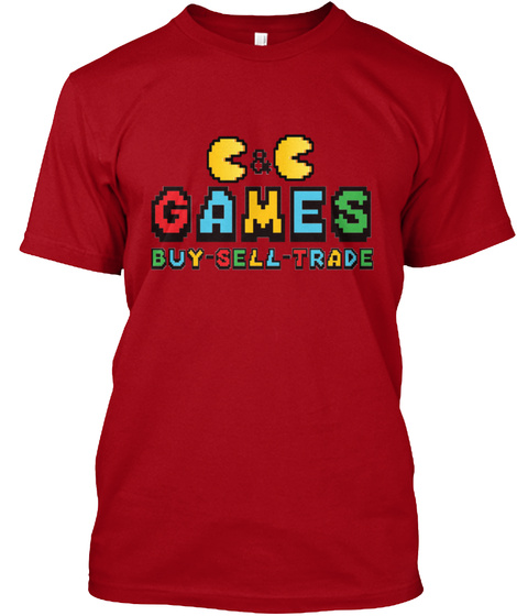 C & C Games Buy   Sell   Trade Deep Red T-Shirt Front