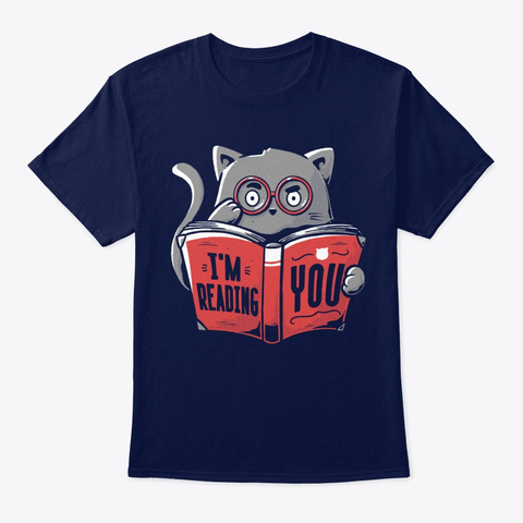 Cat I'm Reading You Classic Navy T-Shirt Front