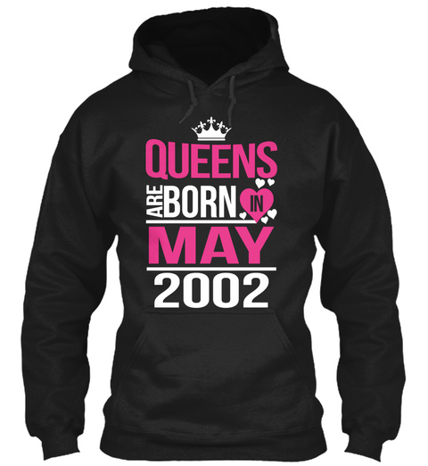 Queens Are Born In May 2002 Black T-Shirt Front