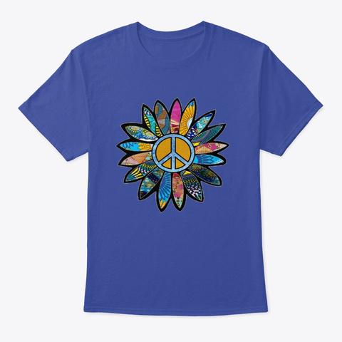 Peace Sign Flower Blues Deep Royal T-Shirt Front