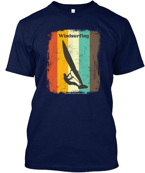 Windsurfing Retro 70s Vintage Navy T-Shirt Front