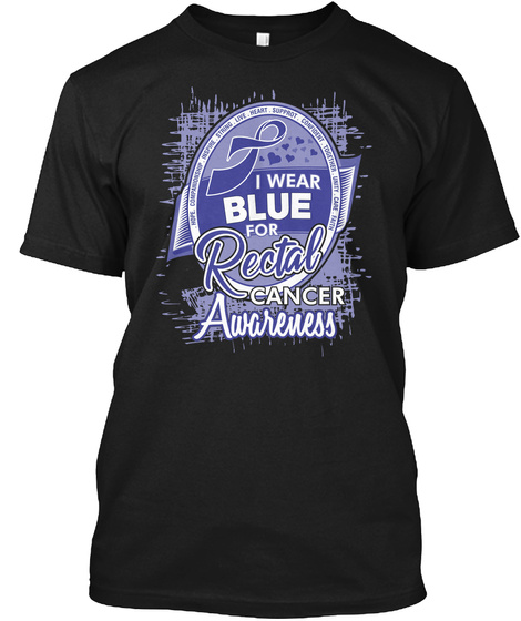 I Blue Amber For Rectal Cancer V2 Black T-Shirt Front