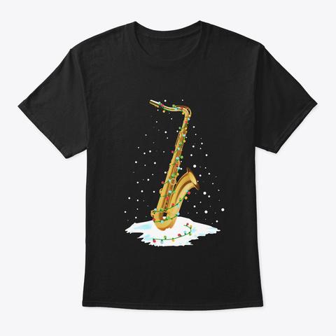 Saxophone Jubilee Christmas Black T-Shirt Front