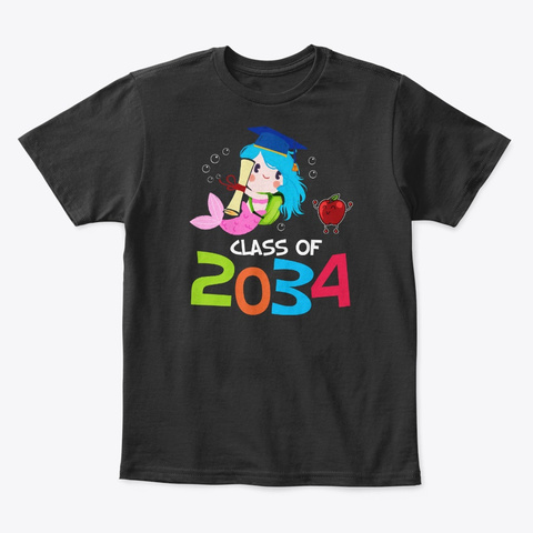 Class Of 2034 Future Mermaid Graduate Black T-Shirt Front