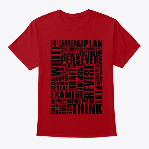 Writer's Inspiration Deep Red T-Shirt Front