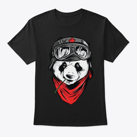 Panda Lover Gift Cute Animal Face Black T-Shirt Front