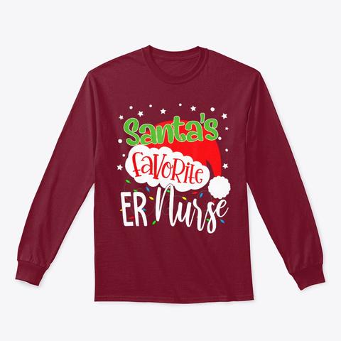 Santa's Favorite Er Nurse Funny Xmas Cardinal Red T-Shirt Front