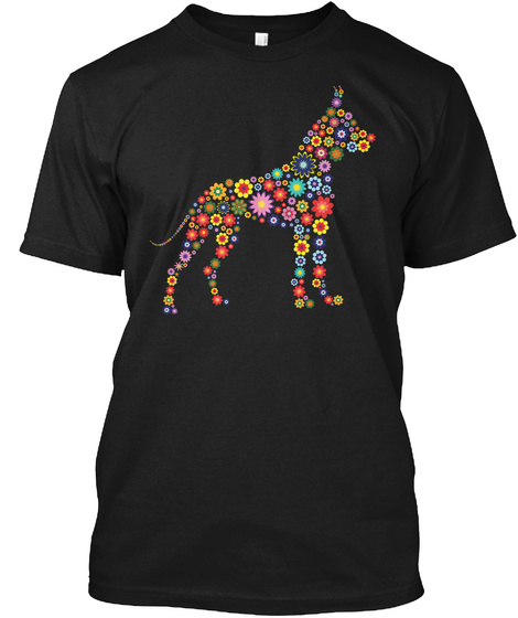 Great Dane Floral Black T-Shirt Front