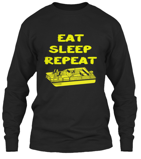 Eat Sleep Repeat Pontooning Pontoon Boat Black T-Shirt Front