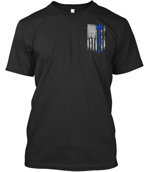 Blue Line Of Courage  Black T-Shirt Front