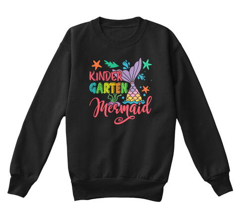 Mermaid Making Waves In Kinder Garten Black T-Shirt Front