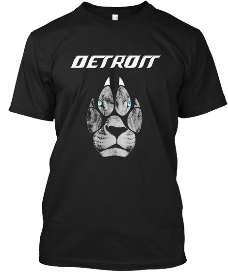 Detroit Football Fans T Shirt Black T-Shirt Front