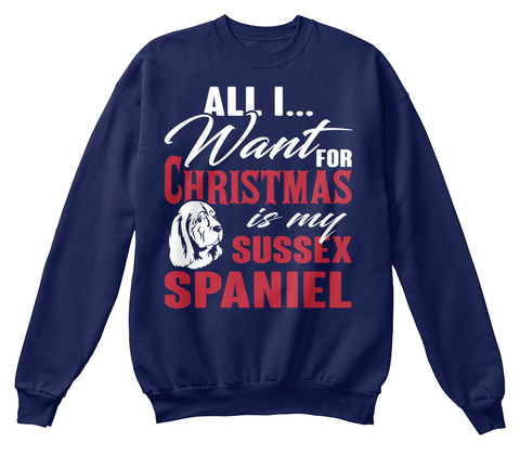 Sussex Spaniel Ugly Christmas Sweater Navy  T-Shirt Front