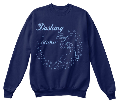 Dashing Through Snow Navy  T-Shirt Front