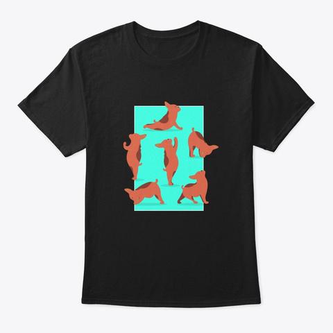 Yoga Namaste Hunde Black T-Shirt Front