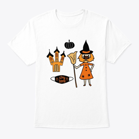Halloween Covid 19 Mask White T-Shirt Front