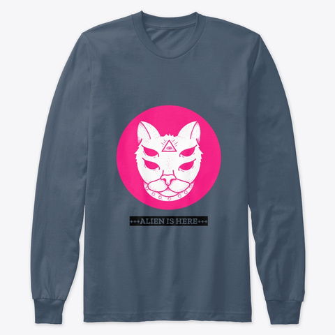 Cat Face T Shirt Indigo T-Shirt Front