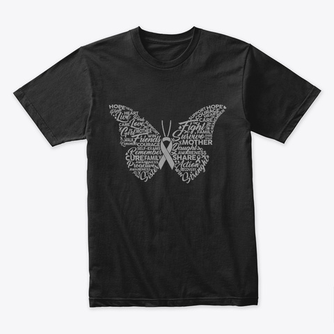 Butterfly Gray Silver Fight Support Black T-Shirt Front