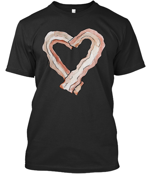 Bacon Heart Black T-Shirt Front