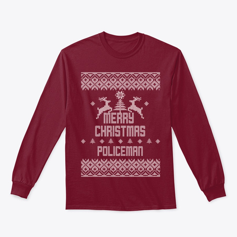 Merry Christmas Policeman Cardinal Red T-Shirt Front