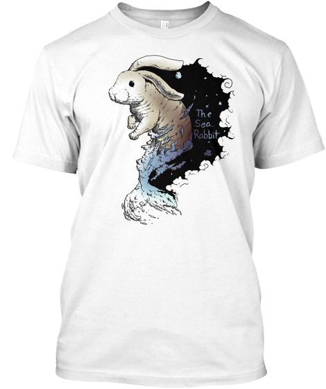 Swirly Sea Rabbit (Colored) White T-Shirt Front