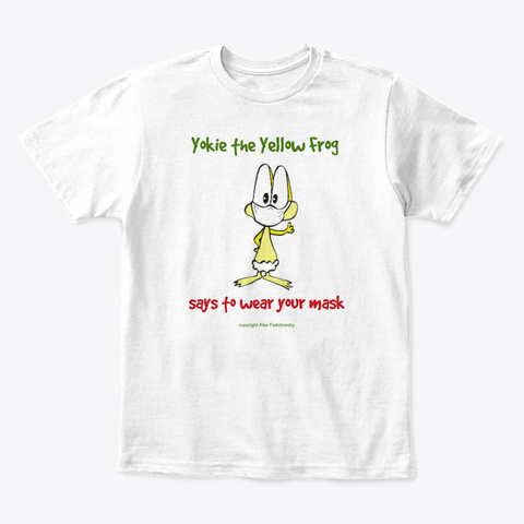 Yokie The Yellow Frog Wears His Mask White T-Shirt Front
