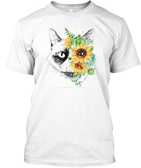 Cat Face 2   Sunflower Funny Shirt White T-Shirt Front