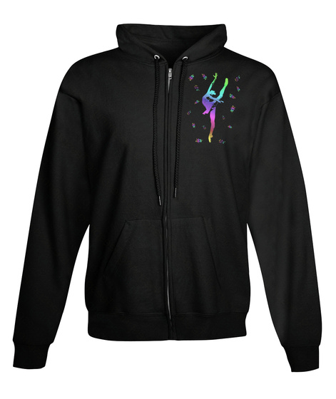 Zip Hoodie Ballet En Pointe Dancer Black T-Shirt Front