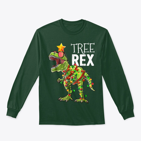Tree Rex Christmas Shirt T Rex Dinosaur Forest Green T-Shirt Front