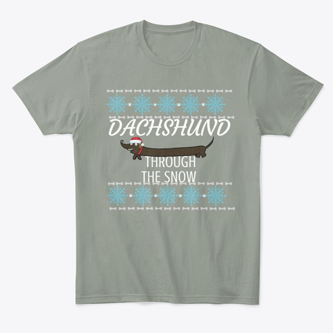 Dachshund Through The Snow  Grey T-Shirt Front