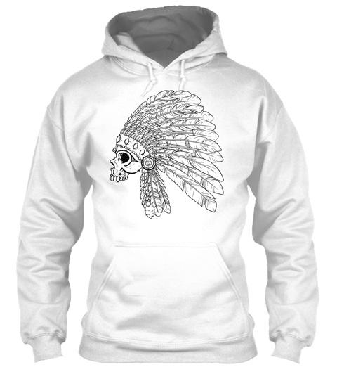 Skull Of Indian Bw Art White T-Shirt Front