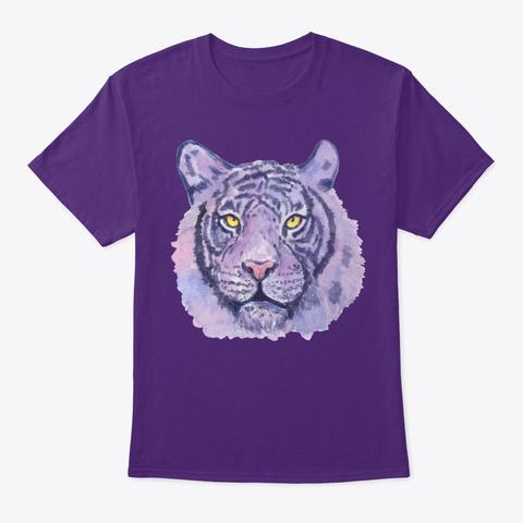 Purple Tiger Face Purple T-Shirt Front