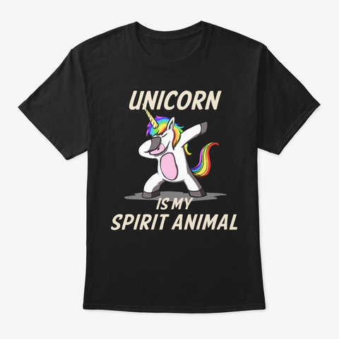 Unicorn Is My Spirit Animal Black T-Shirt Front