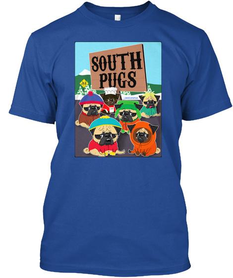 South Pugs Deep Royal T-Shirt Front