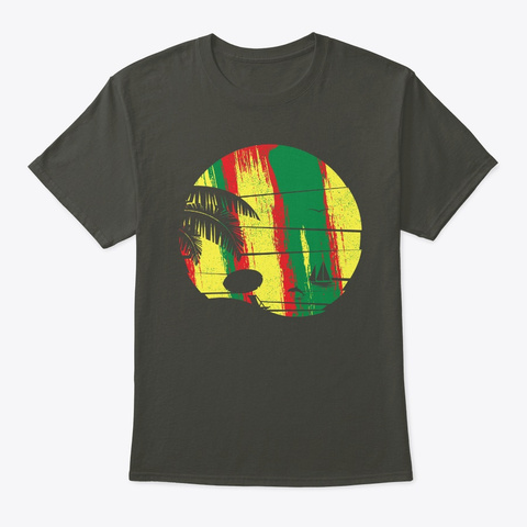 Sunset Beach Jamaican Reggae Palm Tree Smoke Gray T-Shirt Front