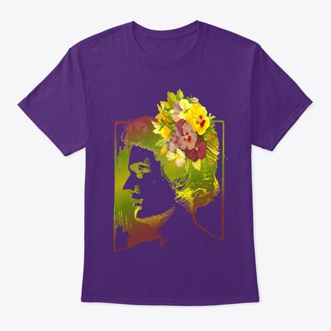 Woman & Flowers Purple T-Shirt Front