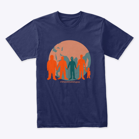 Where Are The Refugees? Midnight Navy T-Shirt Front