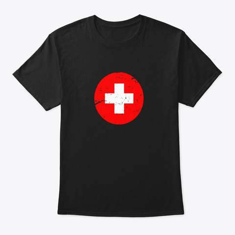 Medical Nurse Costume Uniform Red Cross Black T-Shirt Front