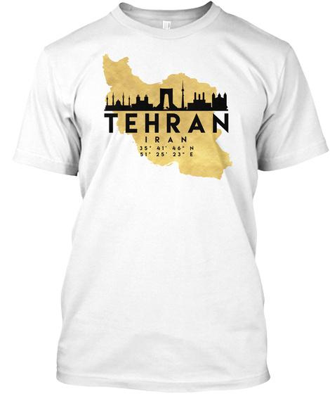 Tehran Iran Skyline Map Art T Shirt White T-Shirt Front