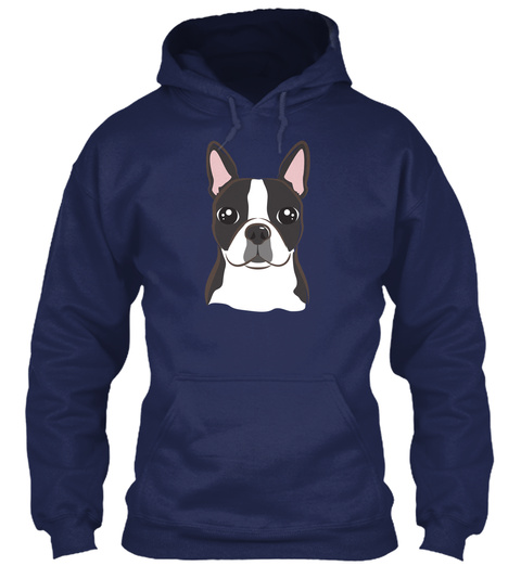 Boston Terrier Sweatshirt Holiday Gift Navy T-Shirt Front