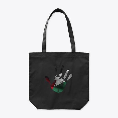 Palestine Flag Handprint فلسطين Black T-Shirt Front