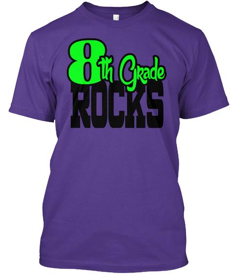 8th Grade Rocks Purple T-Shirt Front